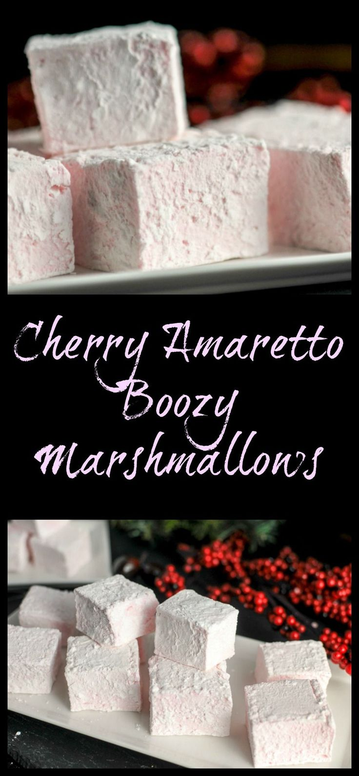 Cherry Amaretto Boozy Marshmallows - Dessert, recipe, alcohol, cherry liqueur, treats, homemade, easy,