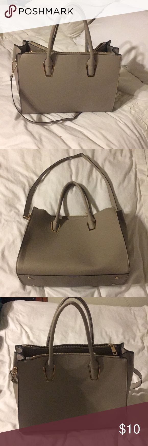 "H & m purse Beige taupe purse Faux leather Preloved Originally purchased at the hm in Paris Zippers are still functioning A few stretches here and there. Nothing extremely noticeable Long strap is detachable 13"" by 16"" H&M Bags Shoulder Bags"