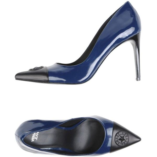 Versace Jeans Pump (5,165 THB) ❤ liked on Polyvore featuring shoes, pumps, dark blue, high heel stilettos, logo shoes, stiletto heel pumps, rubber sole shoes and dark blue pumps