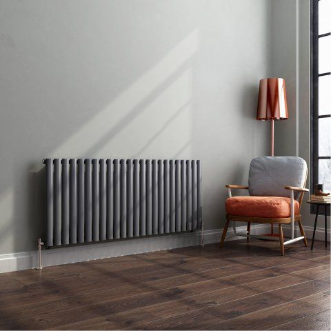 Horizontal Oval Tube Designer Gas Radiator in Anthracite 600mm x 1440mm - soak.com