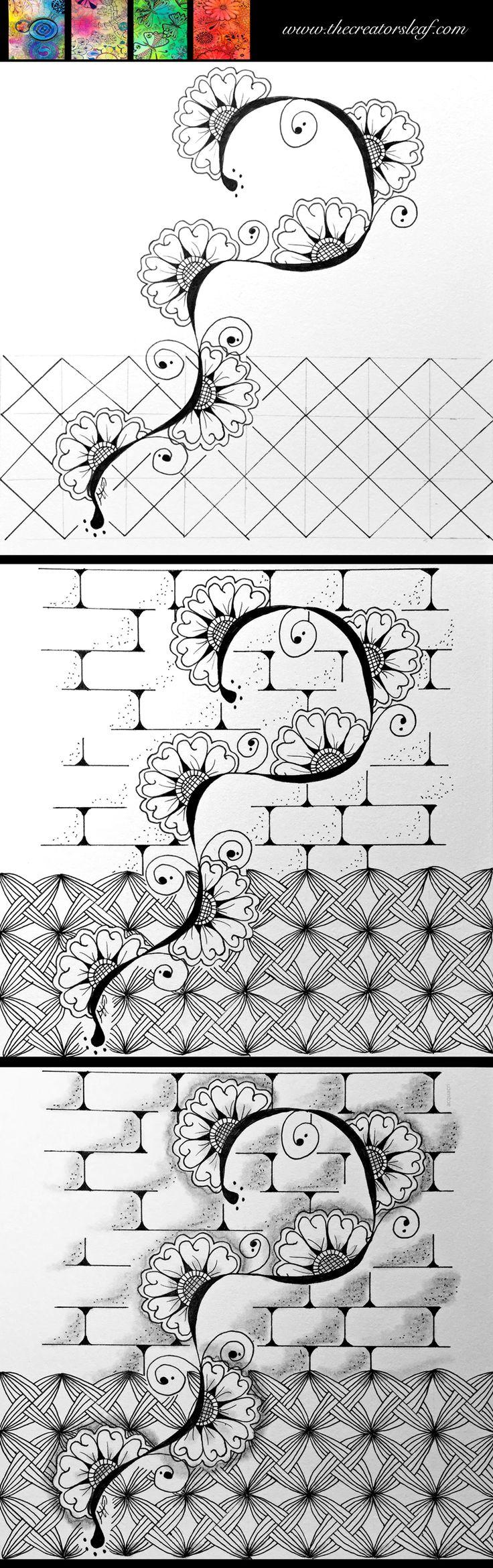 idea zentangle tutorial #flowers #wall