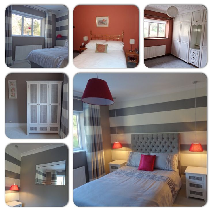 Spare bedroom overhaul - from murky coral walls with dated built-in wardrobes to hotel chic guest room in grey/white monochrome theme and pink accents. Furniture was upcycled and hand painted with Little Greene acrylic.