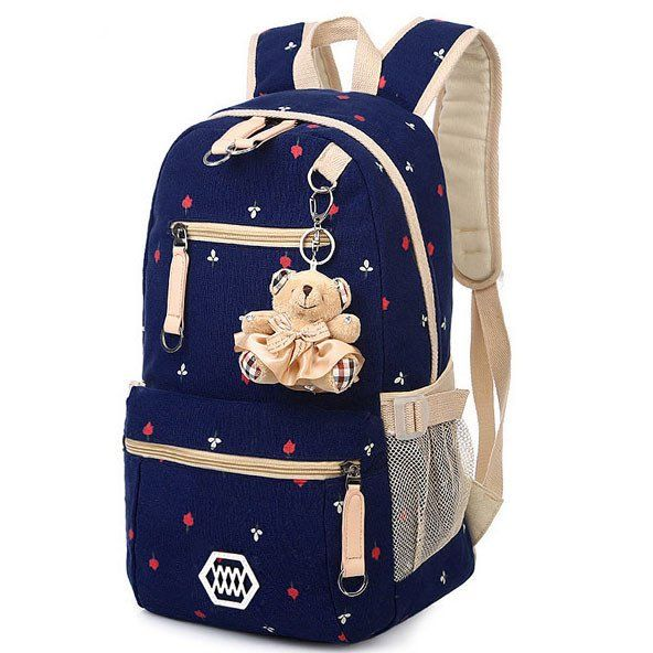 Latest Floral Print Canvas Student Backpack