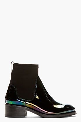 Acne Studios Black Patent Leather Oil Slick Chelsea Boots for women | SSENSE