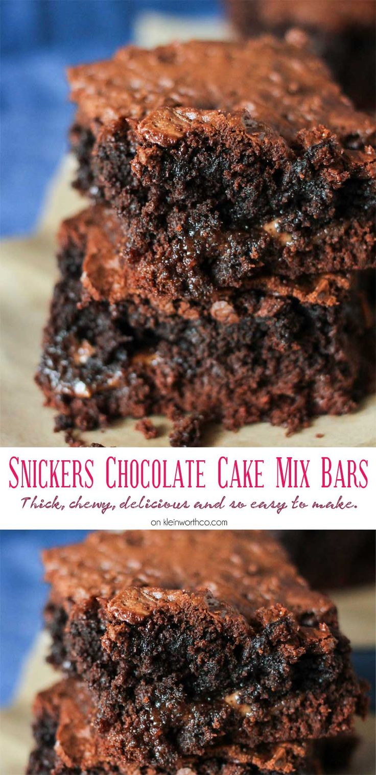 Snickers Chocolate Cake Mix Bars are like a super thick but chewy brownie. A simple cake mix brownie loaded with candy bars that are just another yummy bar recipe you don't want to miss. YUM! I absolutely swoon over these.