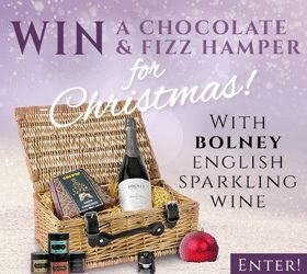 The hamper contains Bolney Estate English sparkling wine Blanc de Blancs White Christmas chocolates Sparkling stopper Liquid fudge mini 4 jar set rrp £55 Boney Estate, in the heart of Sussex, is one of the longest established English vineyards and have been making award winning English sparkling wine for over 35 years. To Enter: Follow [...]