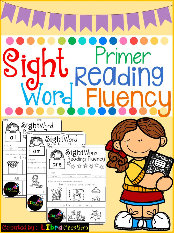 Sight Word Reading Fluency Primer  This product includes: * 52 pages of reading fluency. Your early reader needs to read the sentence and color the picture that matches with the sentence. It's simple and fun to teach them to follow direction.  Preschool, Preschool Worksheets, Kindergarten, Kindergarten Worksheets, First Grade, First Grade Worksheets, Sight Word, Sight Word Activities, Sight Word Activities The Bundle, Bundle, Sight Word, Sight Word Printables