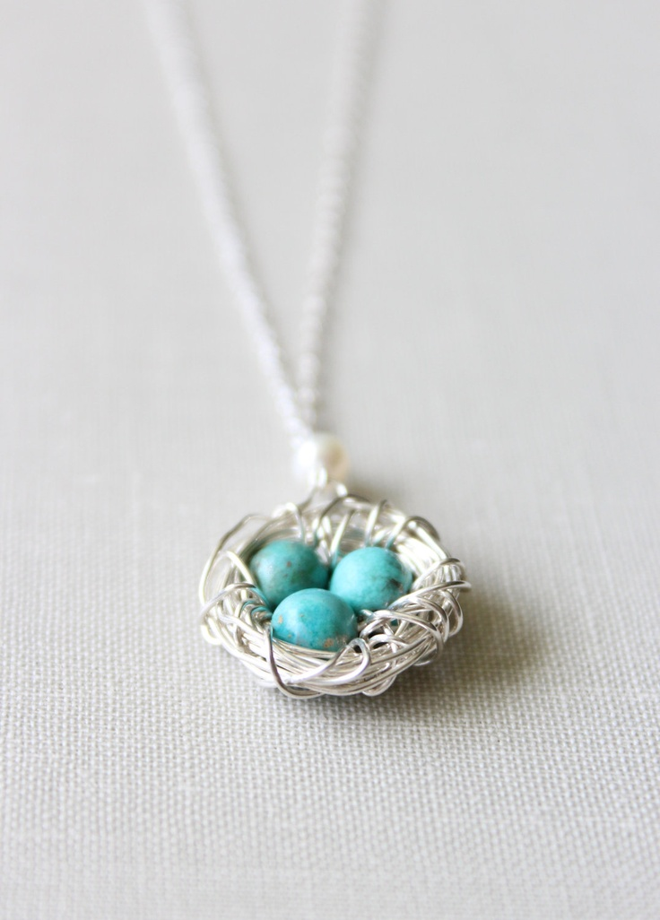 Bird Nest Necklace in Sterling Silver with Turquoise Eggs - New Mom Gift (PRIORITY SHIPPING). $38.00, via Etsy.