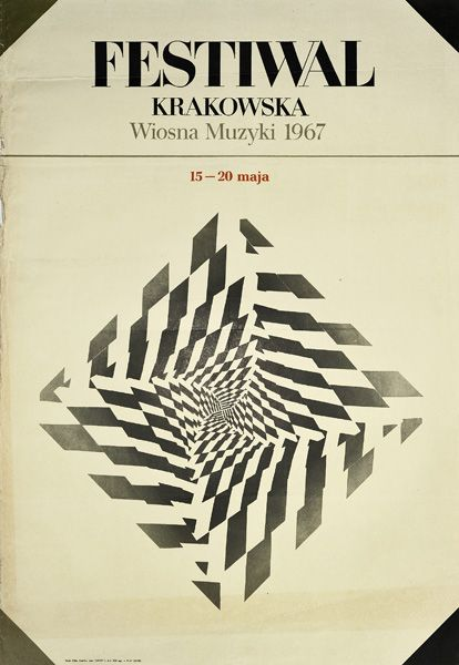 Poster announcing Music Festival in Krakow, 1967. Poster in op-art style edited only in 300 pieces.