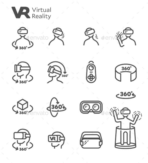 VR Virtual Reality Vector Line Icon Set                                                                                                                                                                                 More