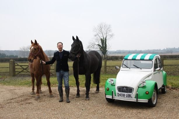 """Here is our 2CV """"Dolly"""" with head designer Martin Tye of GEC Anderson and his two horses! How tiny is our 2CV! The next time we see Dolly she going to be looking rather different, amazing what a £25,000 facelift can do when you are #BuiltinBritain #TinSnail #fiftyshadesofgrey"""