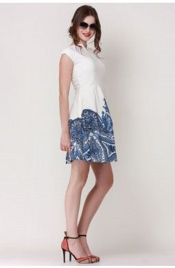 Printed Ending Love Skater Dress  The beautiful blend of colors and the fantastic traditional print all add up to give this dress and edgy look. Pair the dress with really cool pair of heels and you are all set for the party.