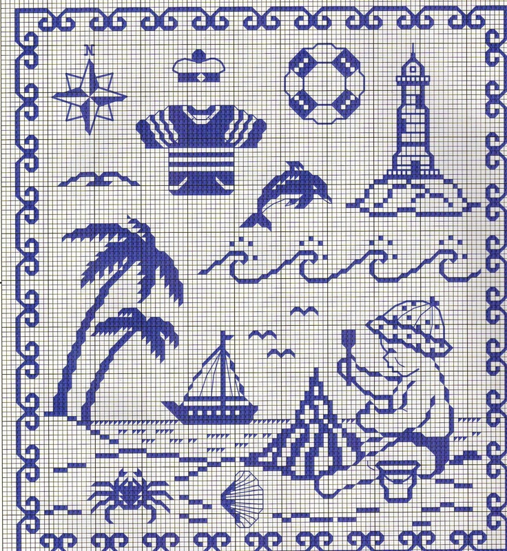 Marine pattern. I don't like these motifs so much, but the frame is a nice idea to complete a sea cross-stitch picture. -The blog is full of good free patterns!-
