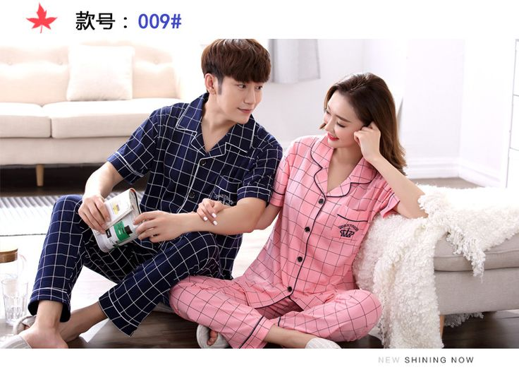 2017 Hot Fashion Womens Pajamas Faux Silk Pajama Sets Man Pajama Suit Indoor Clothing Lover Coat+Shorts Plaid Pajamas #Affiliate