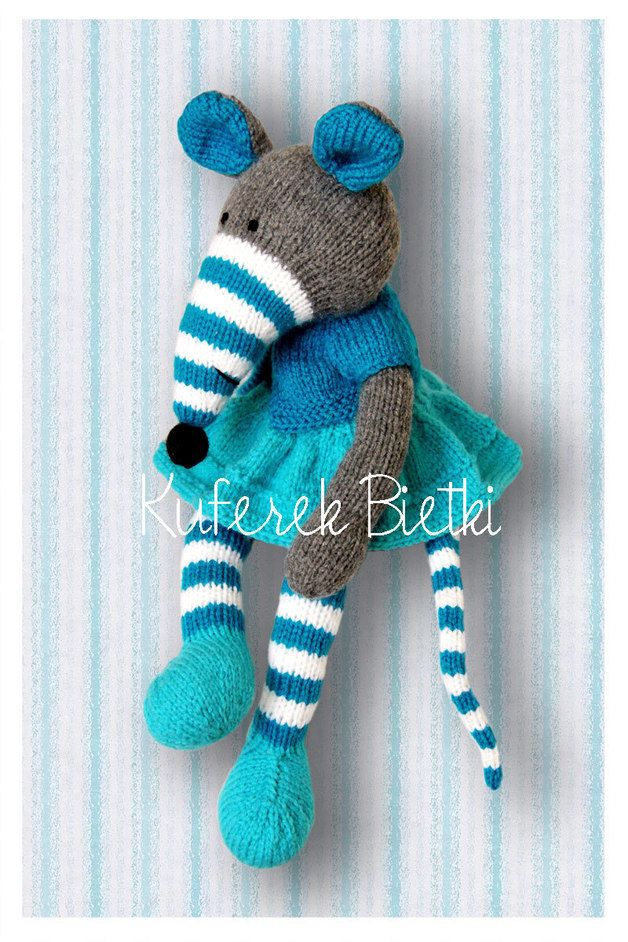 Hand knitted Turquoise Rat