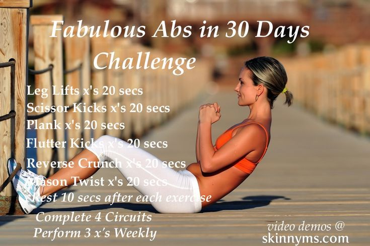 Fabulous Abs in 30 Days Challenge is a results driven workout. Hit the beach or pool with fabulous abs, in just 30 days.