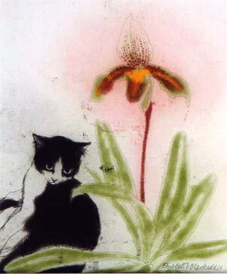Orchid and Cat by Elizabeth Blackadder
