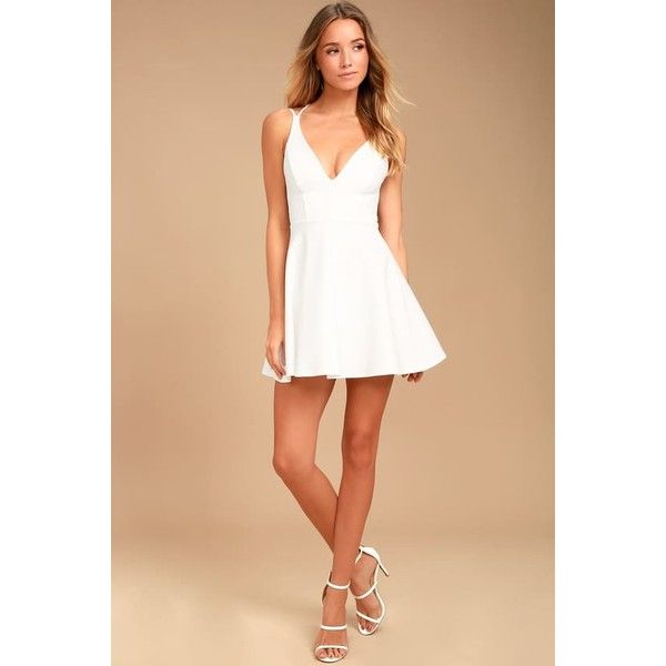 Believe in Love White Backless Skater Dress ($45) ❤ liked on Polyvore featuring dresses, white circle skirt, flared skirt dress, skater skirt, white skater skirt and skater dresses