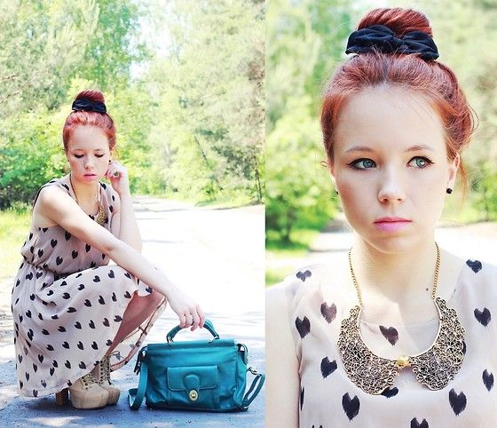 Heart print dress (by Wioletta Mary Kate) http://lookbook.nu/look/3651383-heart-print-dress