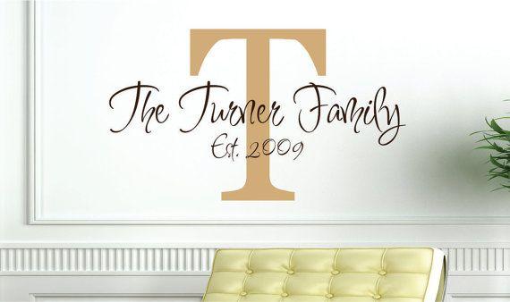 Name Plate: Decor Wedding, Wall Art, Living Rooms, Wedding Decorations, Room Decor, Monogram Vinyl, Vinyl Wall Decals