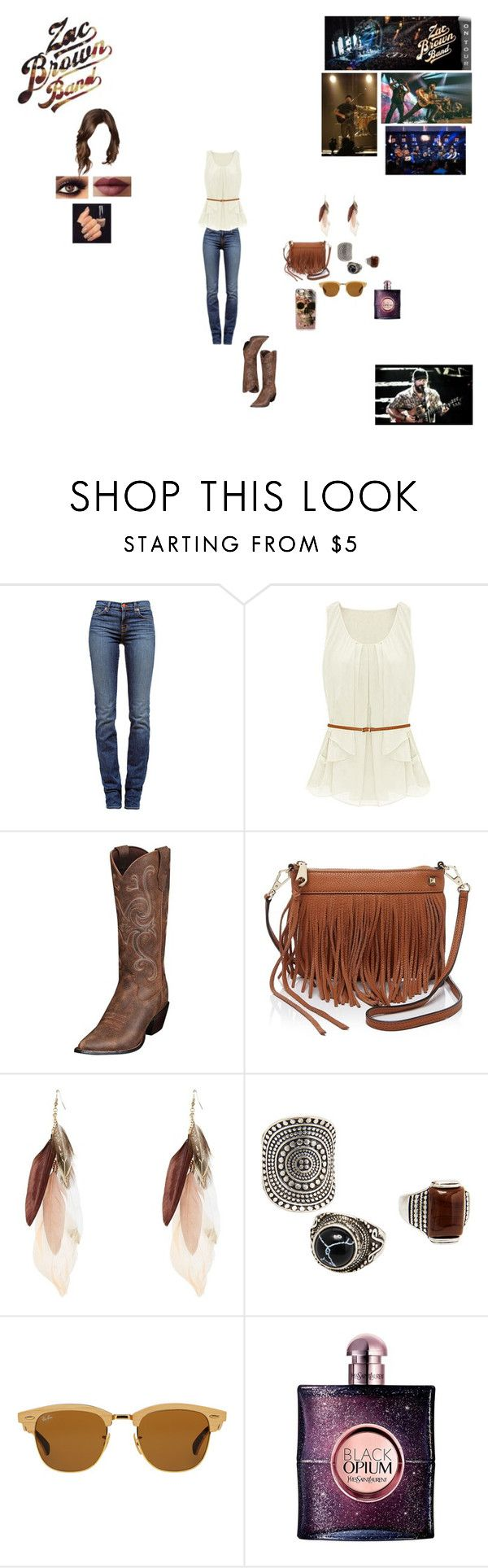 """""""Zac Brown Band Tour"""" by nikki-usmc92 ❤ liked on Polyvore featuring J Brand, Rebecca Minkoff, MANGO, Ray-Ban, Yves Saint Laurent and LORAC"""