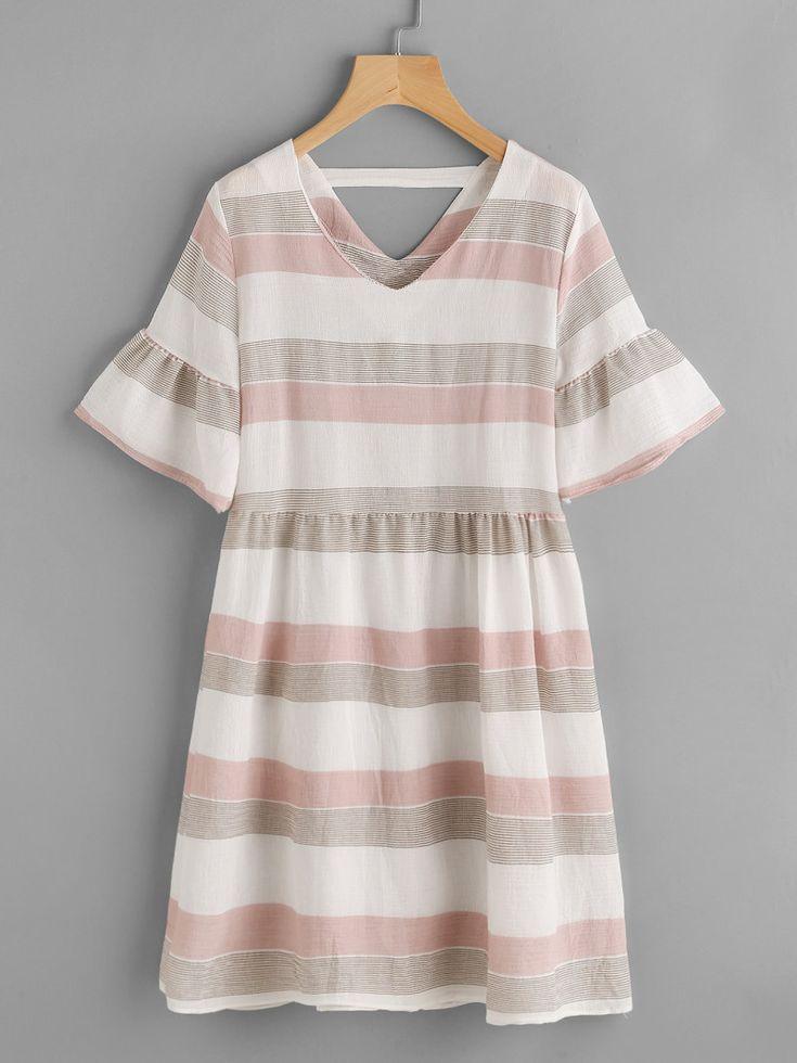 Contrast Striped Double V Fluted Sleeve DressFor Women-romwe