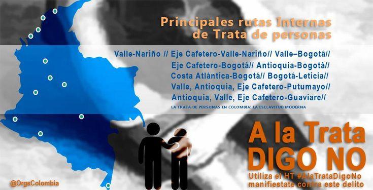 Principales rutas Internas  de Trata de personas en Colombia. #ALaTrataDigoNo