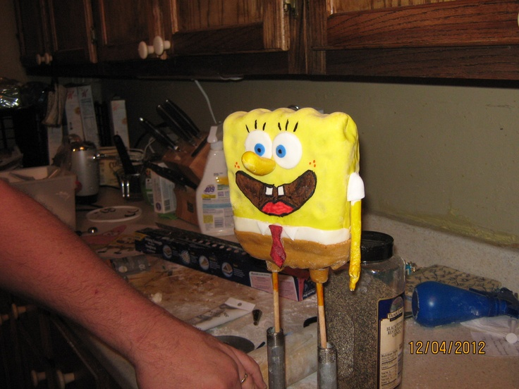 Here's a pic of Spongebob before he went on the cake. He too, is made of rice crispie treats then covered in chocolate and fondant.