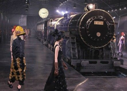 Louis Vuitton catwalk in Shanghai, led by the grand Louis Vuitton Express steam train