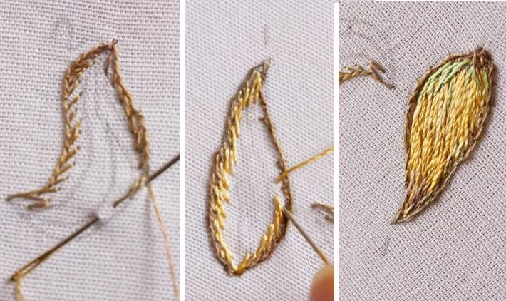 Buttonhole stitching for stumpwork shapes by Di van Niekerk