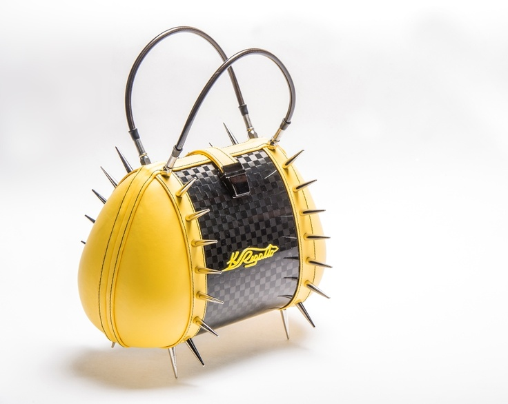 Carbon fiber bag with yellow faux leather and studs Tribute to Dodge Super Bee