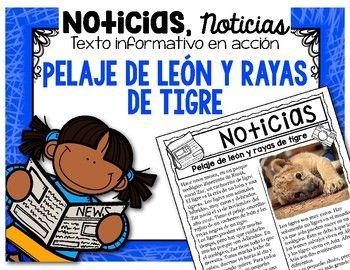 """Este recurso, Análisis de texto informativo en acción - Pelaje de león y rayas de tigre, está diseñado para practicar """"Close Reading"""" en español, utilizando noticias verdaderas que le interesan a los estudiantes. En este recurso encontrará noticias al día acerca de Zar,"""