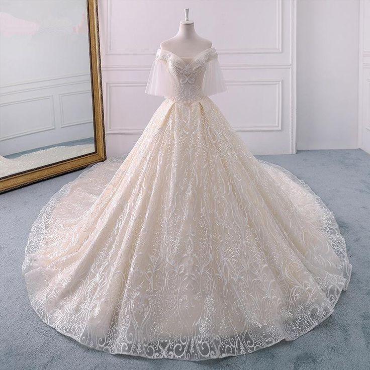 Champagne Off Shoulder A Line Wedding Dresses,Lace Bridal Dresses