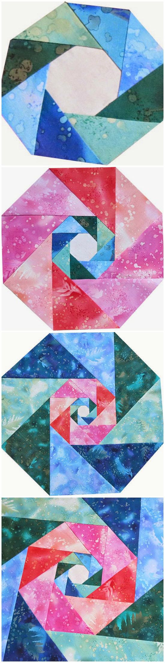 Learn to piece octagons from triangles! The intricate design is a simple piecing technique repeated three times. via @getagrama