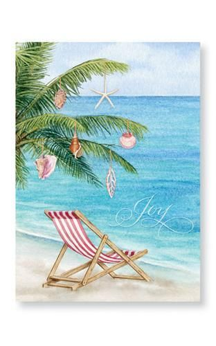 Shell Tree on Beach Holiday Cards - Holiday Stationery from Cape Shore - California Seashell Company