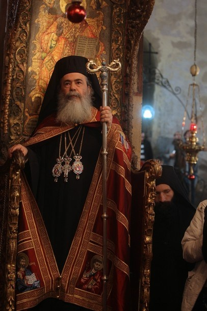 Greek Orthodox Patriarch of Jerusalem Theophilos III attends at the Church of the Nativity in the biblical West Bank town of Bethlehem Orthodox Christmas celebrations which kicked off on January 6, 2012 in the traditional birthplace of Jesus to the sound of bagpipes.