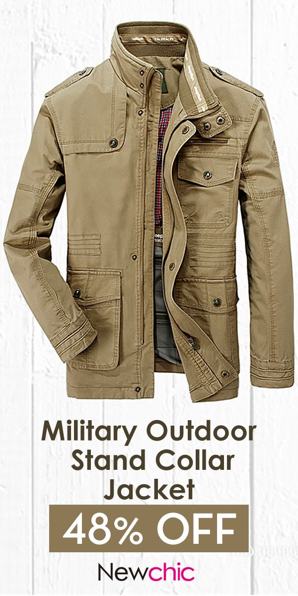 Plus Size Military Epaulets Outdoor Stand Collar Casual Cotton Jacket For Men Mens Jackets Stand Collar Jackets Men S Coats And Jackets