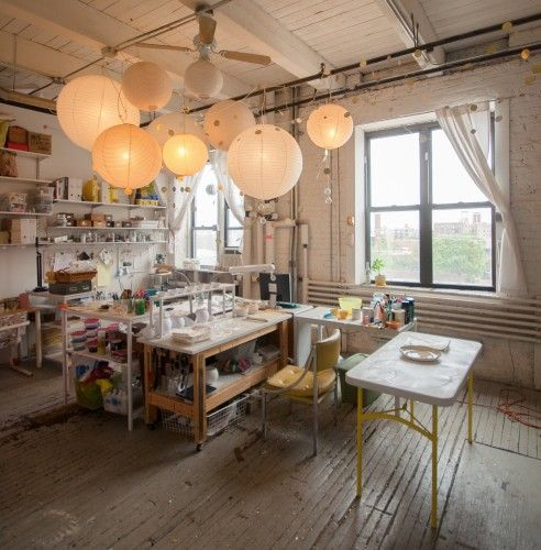the studio of Susan Dwyer of Up in the Air Somewhere   Sous Style
