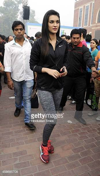 Bollywood actor Kriti Sanon during the flag off ceremony of 'Walk for Health' at Major Dhyan Chand National Stadium on November 9 2014 in New Delhi...