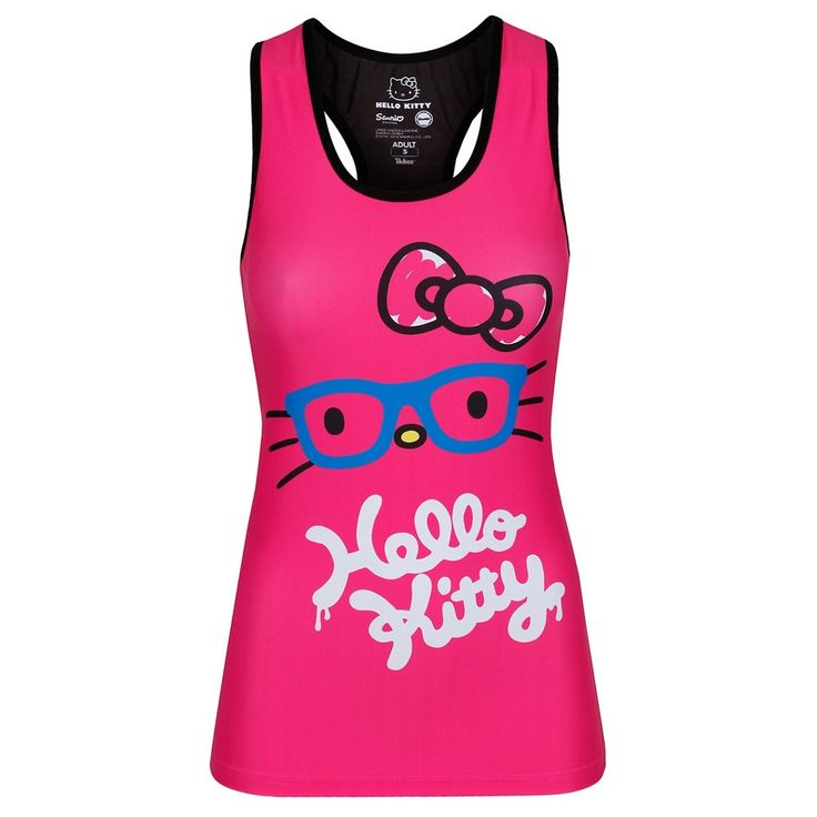 The perfect addition to any gym goer's workout wardrobe, the Active Pink vest is made with a light fabric so it's easy to wear for any workout.  Designed with a racer back, a Hello Kitty motif and a bright and bold pink hue, this vest is ideal. The back is adorned with the much-loved Hello Kitty character and our Tikiboo logo.  Ideal for indoor or outdoor running, CrossFit, yoga or any other workout you want thanks to its breathable fabric. #HelloKitty