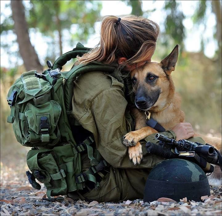IDF soldier with her Dog. (Its Beautiful and Heartbreaking at the same time .... It Reminds me someone i've Lost.)