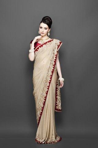 Beige-Gold Sari
