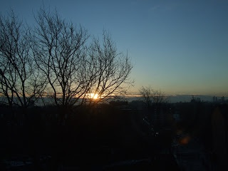 Woke up to the sun just rising over London, a very crisp morning.
