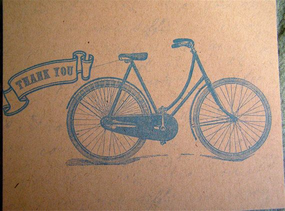 10 Thank You Note - Bicycle Postcard in Blue - Vintage Inspired on Etsy, $10.00