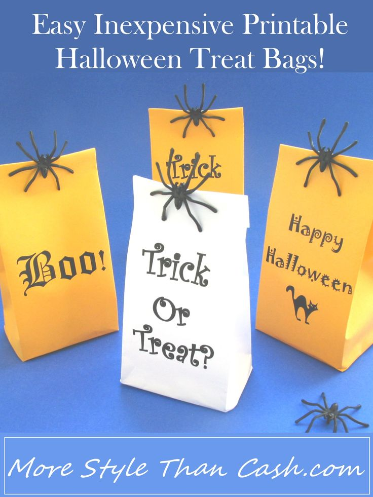 Easy to make cheap Halloween treat bags. Perfect for school parties! Print them off now!