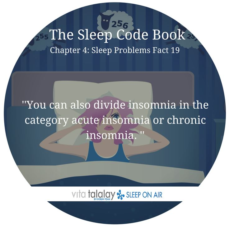 You can also divide insomnia in the category acute insomnia or chronic insomnia.