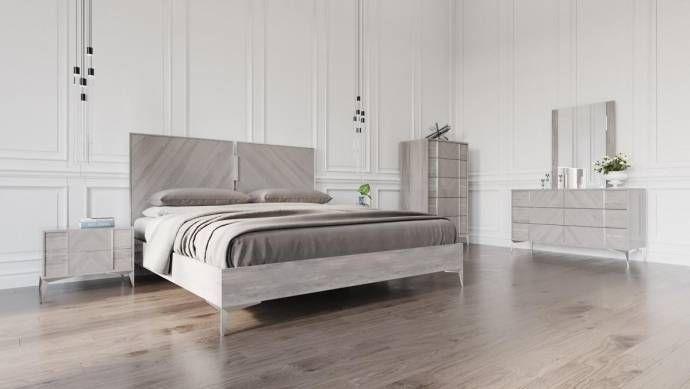 VIG Nova Domus Alexa Premium Italian Grey King Size Bedroom Set 5Pcs