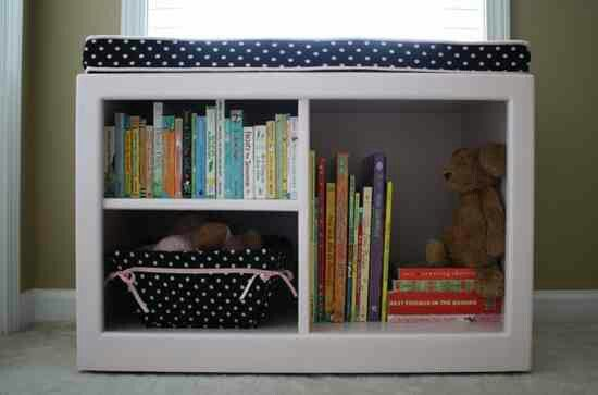 Repurposed TV Stand to a Reading Nook Bench & Storage