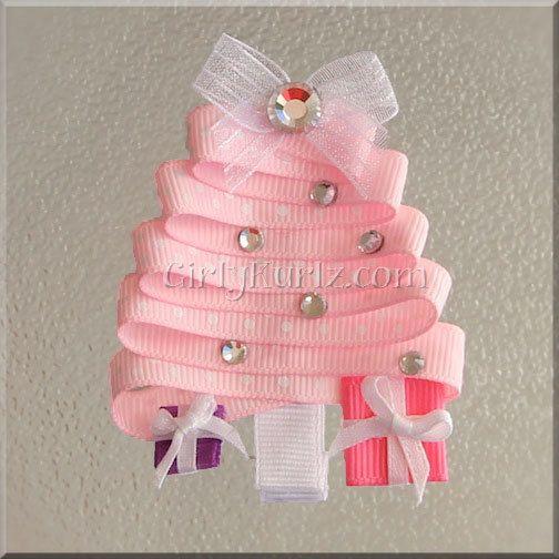 PINK Christmas Tree Ribbon Sculpture Hair Clip  $6.15, via Etsy.