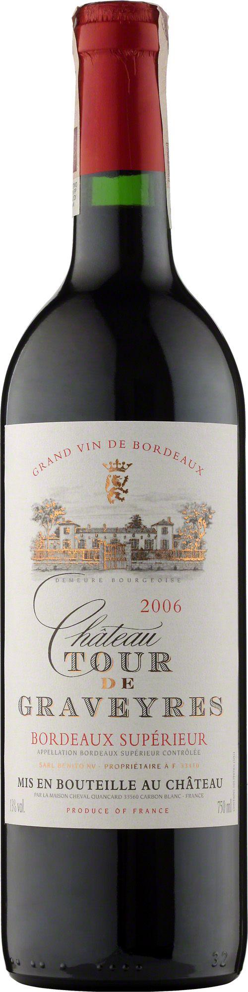 Chateau Tour De Graveyres Bordeaux A.O.C. Klasyczne bordoskie cuvee z podstawą caberneta. Wino o eleganckiej i subtelnej dębowej nucie. #Wino #Bordeaux #Winezja #Chateau #TourDeGraveyres